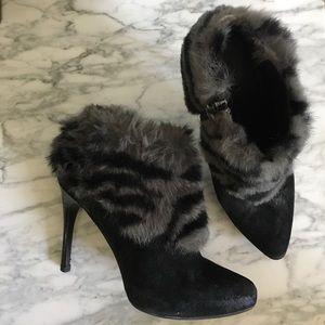 DONALD J. PLINER Animal Faux-Fur Suede Booties